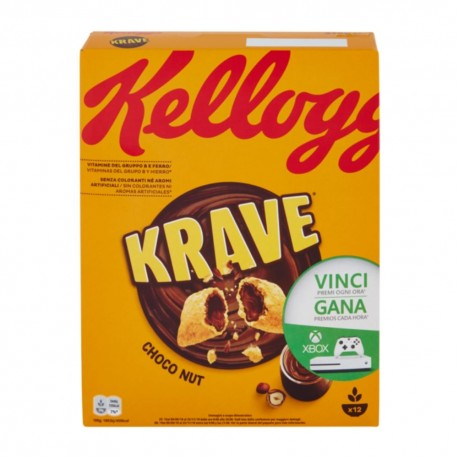 Kellogg'S Krave Choco Nut Cereali Ripieni Alla Nocciola In Confezione Da 375 Grammi
