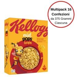 Kellogg'S Miel Pops Loops Anellini Al Miele Multipack Da 16 Confezioni Da 375 Grammi Ciascuna