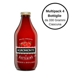 Agromonte Salsa Pronta di Pomodoro Datterino Multipack Da 4 Bottiglie Da 330 Grammi Ciascuna