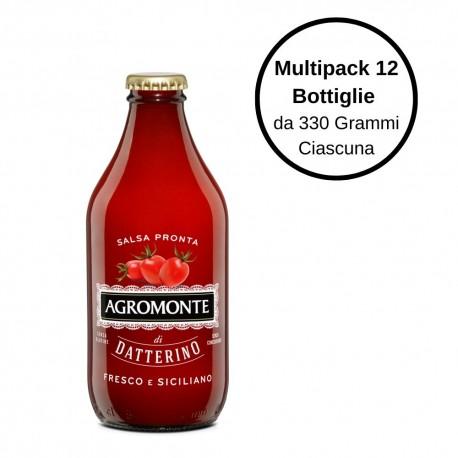 Agromonte Salsa Pronta di Pomodoro Datterino Multipack Da 12 Bottiglie Da 330 Grammi Ciascuna