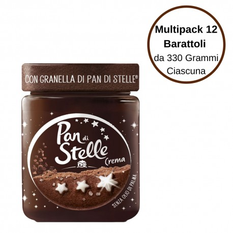 Pan Di Stelle Crema Spalmabile Alle Nocciole Con Granella di Biscotto Multipack Da 12 Barattoli Da 330 Gr Ciascuno