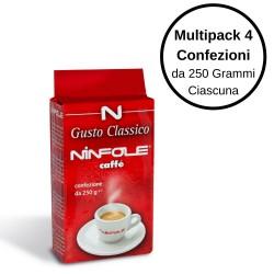Ninfole Caffe' Gusto Classico Caffe' Per Moka Multipack 4 Confezioni Da 250 Grammi Ciascuna