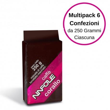 Ninfole Caffe' Corallo Caffe' Per Moka Multipack Da 6 Confezioni Da 250 Grammi Ciscuna