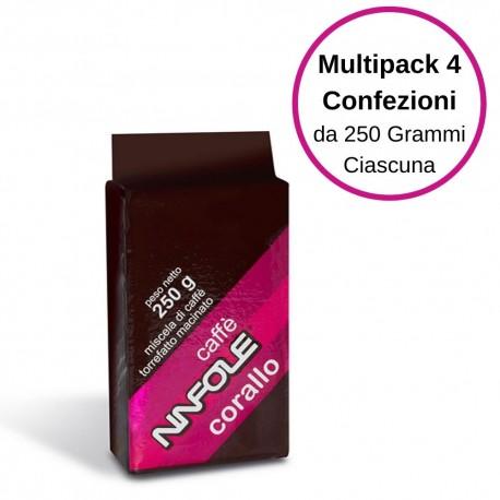 Ninfole Caffe' Corallo Caffe' Per Moka Multipack Da 4 Confezioni Da 250 Grammi Ciscuna