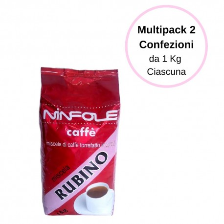 Ninfole Caffe' Rubino In Confezione Caffe' In Grani Multipack Da 2 Confezioni Da 1 Kg Ciascuna