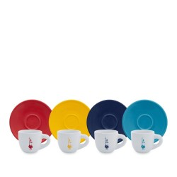 Bialetti Set 4 Tazzine e 4 Pattini Moka Color