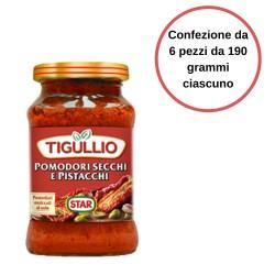 Tigullio Pesto Pomodori Secchi e Pistacchi Confezione da 6 pezzi da 190 grammi
