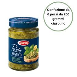 Barilla Pesto Rustico Basilico e Zucchine Confezione da 6 Pezzi da 200 grammi