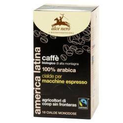 CAFFE' 100% ARABICA BIOLOGICO 18 CIALDE 125 GRAMMI ALCE NERO