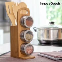 Set di portaspezie magnetici con utensili in bambu' Bamsa InnovaGoods 7 Pezzi