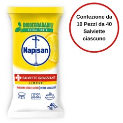 Napisan Salviette Igienizzanti al Limone Confezione da 10 Pezzi da 40 Salviette