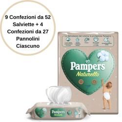 Pampers Naturello 9 Salviette + 4 Confezioni Pannolini 2 da 27 Pannolini Ciascuno