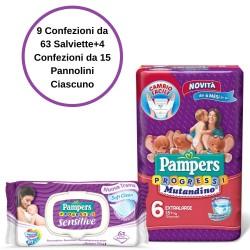 Pampers Progressi Sensitive Salviette 9 Confezioni + 6 Mutandino 4 Confezioni da 15