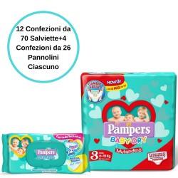 Pampers Baby Fresh Salviette 12 Confezioni + Baby Dry 3 Mutandino 4 Conf.