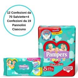Pampers Baby Fresh Salviette 12 Confezioni + Baby Dry 5 Mutandino 4 Conf.
