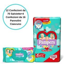 Pampers Baby Fresh Salviette 12 Confezioni + Baby Dry 6 Mutandino 4 Conf.