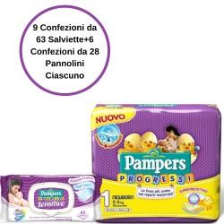 Pampers Progressi Pannolini 1 Newborn 6 Confezioni + Sensitive Salviette