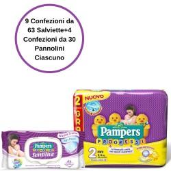 Pampers Progressi Pannolini 2 Mini 4 Confezioni + Sensitive Salviette