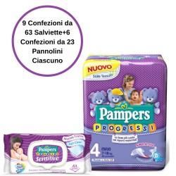 Pampers Progressi Pannolini 4 Maxi 6 Confezioni + Sensitive Salviette