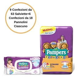Pampers Progressi Pannolini 6+ Large 6 Confezioni + Sensitive Salviette