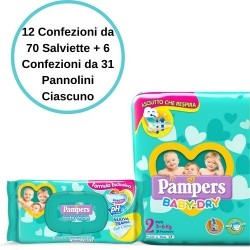 Pampers Baby Dry 2 Mini Pannolini 6 Confezioni + Baby Fresh Salviette