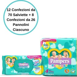 Pampers Baby Dry 4 Maxi Pannolini 8 Confezioni + Baby Fresh Salviette