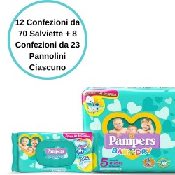 Pampers Baby Dry 5 Junior Pannolini 8 Confezioni + Baby Fresh Salviette