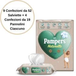 Pampers Naturello 9 Salviette + 4 Confezioni Pannolini 5 da 19 Pannolini Ciascuno