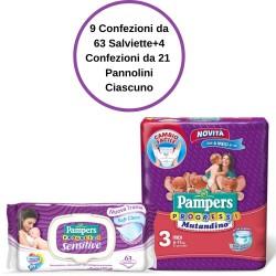 Pampers Progressi Sensitive Salviette 9 Confezioni + Mutandino 3 4 Confezioni da 21
