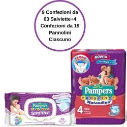 Pampers Progressi Sensitive Salviette 9 Confezioni + 4 Mutandino 4 Confezioni da 19