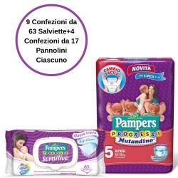 Pampers Progressi Sensitive Salviette 9 Confezioni + 5 Mutandino 4 Confezioni da 17