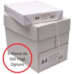 Carta A4 Bianca Per Stampanti e Fotocopiatrici  5 Risme da 500 Fogli Ognuno