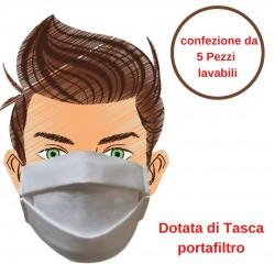 Mascherina di Protezione Bianca 5 Pezzi Riutilizzabile e Lavabile Cotone 100% Con Elastici