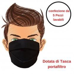 Mascherina di Protezione Nera 5 Pezzi Riutilizzabile e Lavabile Cotone 100% Con Elastici