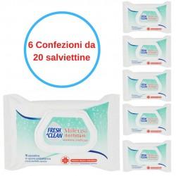 Salviettine Umidificate Disinfettanti Fresh&Clean 6 dispenser da 20 Pezzi Antibatteriche