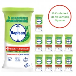 Napisan Salviette Igienizzanti Eucalipto Confezione da 10 Pezzi da 40 Salviette