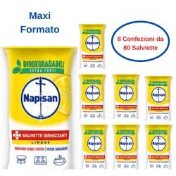 Napisan Salviette Igienizzanti al Limone Confezione da 8 Pezzi da 80 Salviette