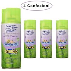 Emulsio Deodorante Spray per Animali Cuccia e Lettiera Igienizzante Lavanda 4 Confezioni da 400 Ml