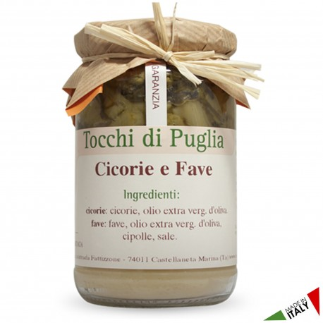 Fava Beans and Chicory in Jar of 310 grams by the organic farm Tocchi di Puglia