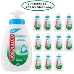 Borotalco Sapone con Antibatterico Igienizzante al Muschio Bianco 12 Flaconi da 250 Ml Ciascuno