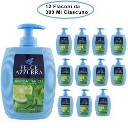 Felce Azzurra Sapone Liquido con Antibatterico Menta e Lime 12 Flaconi da 300 Ml Ciascuno
