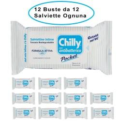 Chilly Salviettine Antibatteriche con Formula Anti-Odor 12 Buste da 12 Salviette Ciascuna