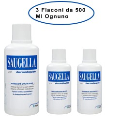 Saugella Dermoliquido Detergente Per L'Igiene Intima 3 Flaconi da 500 Ml Ciascuno