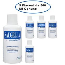 Saugella Dermoliquido Detergente Per L'Igiene Intima 5 Flaconi da 500 Ml Ciascuno