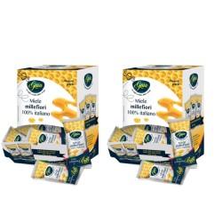 Gaia Due Confezioni di Miele Millefiori in Bustine 100 Bustine da 4 grammi Ciascuno