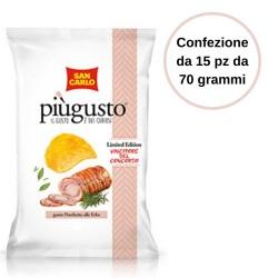 Patatine Piu' Gusto Porchetta alle Erbe San Carlo Confezione da 15 Pezzi da 70 Grammi