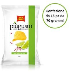 Patatine Piu' Gusto Gusto Lime e Pepe Rosa San Carlo Confezione da 15 Pezzi da 70 Grammi